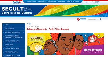 Layout do site da Secult BA fazendo homenagem a Wilton Bernardo no dia Nacional dos Quadrinhos